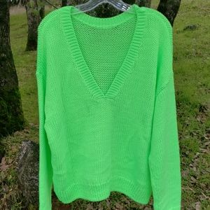 PINK Victoria's Secret Lime Reversible Sweater NWT